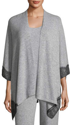 Neiman Marcus Cashmere Lace-Trimmed Shawl Cardigan
