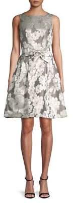Tahari Arthur S. Levine Metallic Floral Stripe Fit-&-Flare Dress