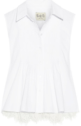 SEA - Lace-paneled Pintucked Cotton-poplin Top - White $325 thestylecure.com