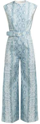 Emilia Wickstead Barbara Python Print Linen Jumpsuit - Womens - Blue Print