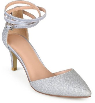 Co Brinley Women's Glitter D'orsay Pointed Toe Wrap Strap Pumps