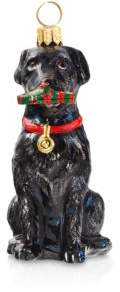 Joy to the World Black Lab with Tartan Plaid Slipper Ornament
