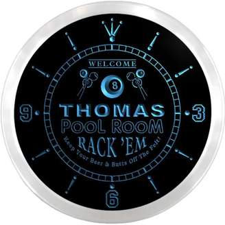 Thomas Laboratories AdvPro Clock ncpy0010-b Pool Room Rack 'EM Beer Pub LED Neon Sign Wall Clock