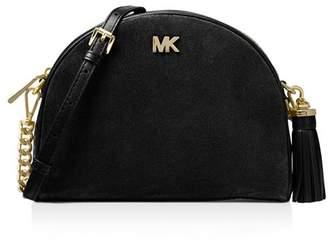 MICHAEL Michael Kors Medium Half Moon Suede & Leather Crossbody