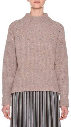 Agnona Mock-Neck Tweed Oversized Wool-Cashmere Sweater
