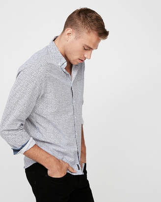 Express Slim Softwash Floral Cotton Shirt
