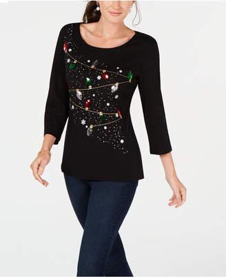 Karen Scott Cotton Holiday Lights Sequin Top