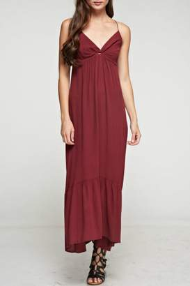 Denim Spot Twist Front Maxi Dress