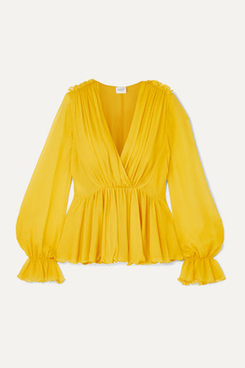 Giambattista Valli Ruffled Silk-georgette Blouse - Yellow