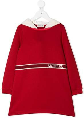 Moncler hooded logo embroidered dress