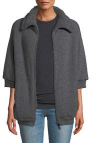 English Ribbed Zip-Up Cashmere Cardigan