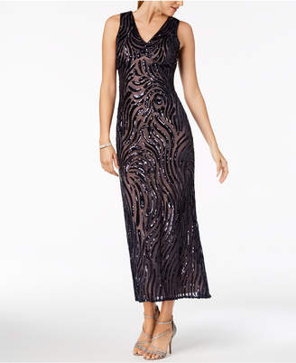 Night Way Nightway Petite Sleeveless V-Neck Sequin Gown