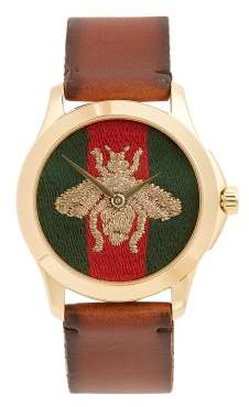 Gucci Bee Embroidered Watch - Mens - Brown Multi