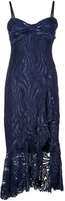 Jonathan Simkhai metallic lace bustier ruffle dress
