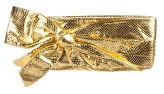 Valentino Metallic Glazed Snakeskin Clutch