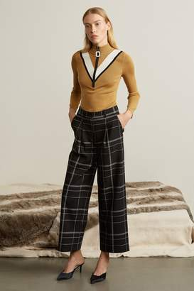 Genuine People Wool Blend Plaid Pants