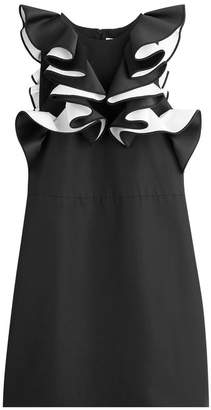 Victoria Beckham Victoria Micro Faille Double Ruffle Shift Dress