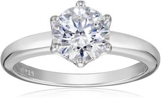 Swarovski Amazon Collection Platinum Plated Sterling Silver Solitaire Ring set with Round Zirconia (2 cttw), Size 8