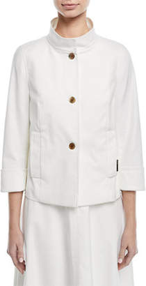 Escada Button-Front 3/4-Sleeve Cotton Pique Jacket