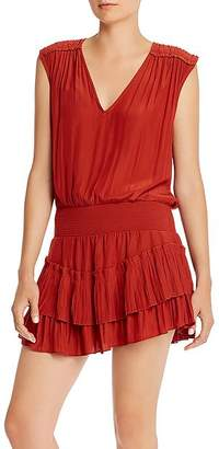 Ramy Brook Bernice Smocked-Waist Mini Dress