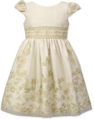 Jayne Copeland Little Girls Floral Embroidered Satin Dress