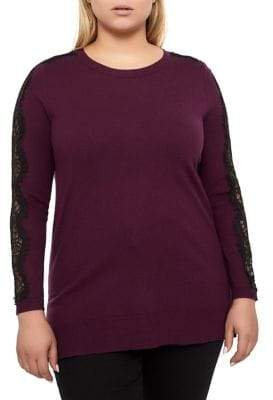 Addition Elle Michel Studio Plus Lace Trim Sweater