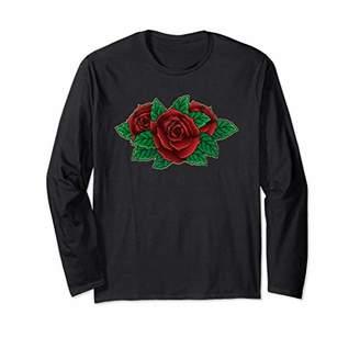 Distressed Rose Tattoo Long Sleeve T-shirt Vintage Rose Tee