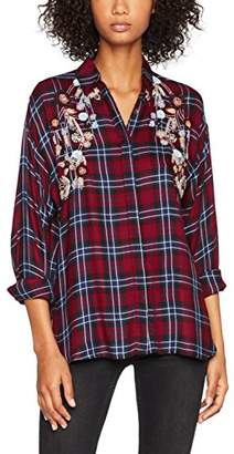 New Look Women's F Embel Check Shirt 5419173 (Red Pattern)
