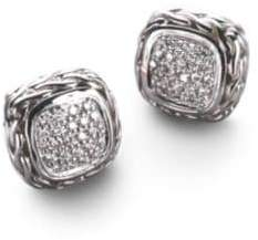 John Hardy Classic Chain Diamond& Sterling Silver Small Square Stud Earrings