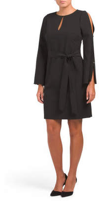 Dress With Keyhole & Bow Sash