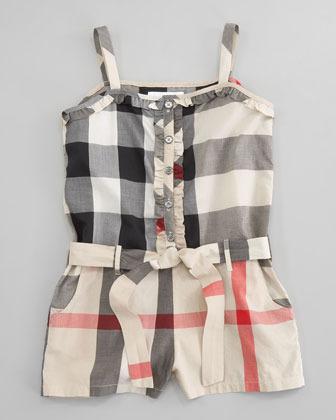 Burberry Plaid Belted Short Jumpsuit