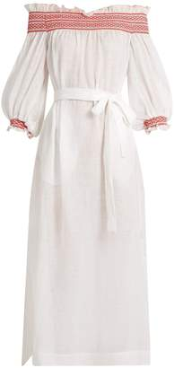 LISA MARIE FERNANDEZ Off-the-shoulder linen dress $695 thestylecure.com