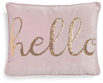 14x18 Sequin Hello Velvet Pillow