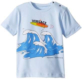Versace Kids Short Sleeve Wave Graphic T-Shirt Boy's T Shirt