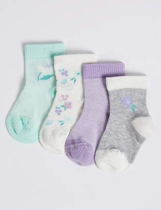 Marks and Spencer 4 Pack Floral Print Baby Socks