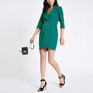 River Island Dark green bodycon wrap tux mini dress