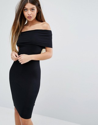 ASOS Bardot Off Shoulder Midi Bodycon Dress $36 thestylecure.com