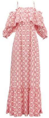 Beulah - Aakash Off Shoulder Tile Print Silk Dress - Womens - Pink Multi