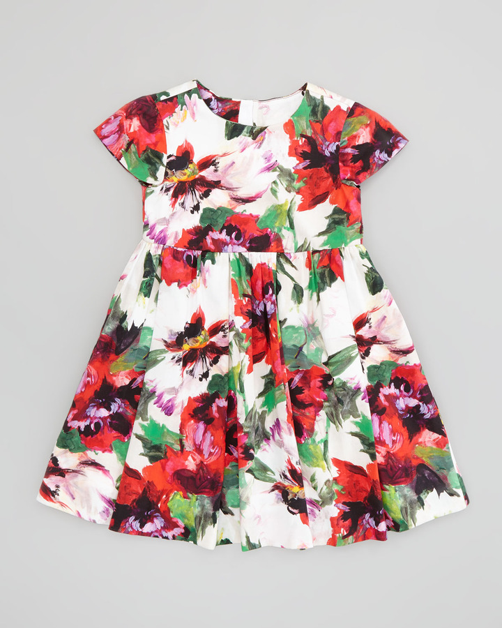 Milly Minis Bouquet Floral Cap Sleeve Dress, White/Multi