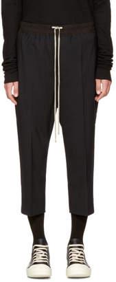 Rick Owens Black Drawstring Cropped Astaires Lounge Pants