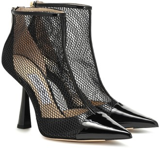 Jimmy Choo Kix 100 leather and mesh ankle boots