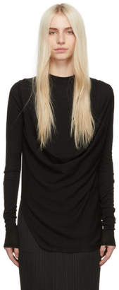 Rick Owens Black Wool Draped Sweater
