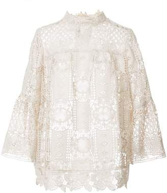 Anna Sui perforated lace blouse