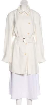 Armani Collezioni Pointed Collar Knee-Length Coat