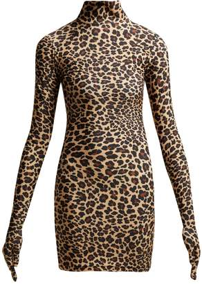 Vetements Leopard-print glove-sleeved jersey dress