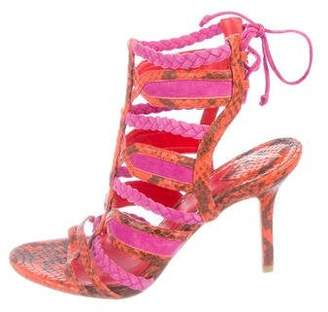 Brian Atwood Embossed Cage Sandals