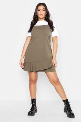 boohoo Plus Ruffle Hem Pinafore Dress