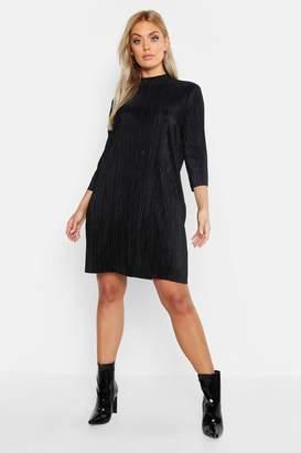 boohoo Plus High Neck Plisse Shift Dress