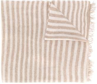 Danielapi fringed striped cashmere scarf