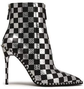 Alexander Wang Studded Checked Snake-Effect Leather Ankle Boots